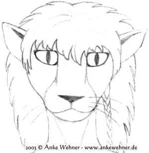 Pencil sketch portrait of an anthropomorphised big cat