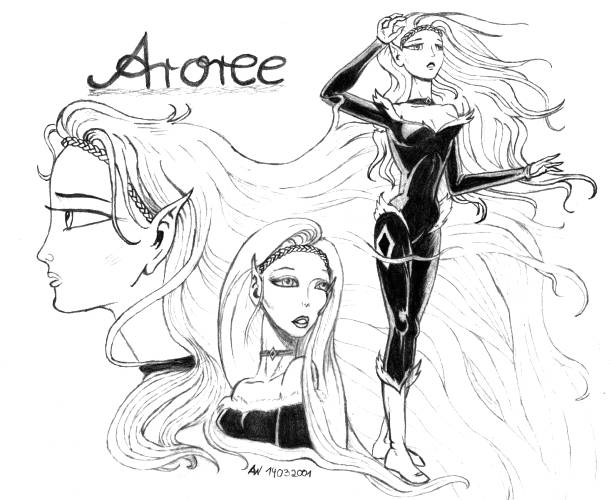 A pencil drawing showing the same character - a tall elf with long, flowng hair - three times