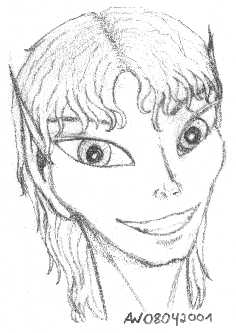 A pencil portrait of a grinning elf