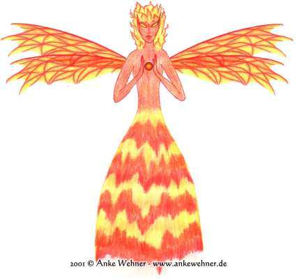An image of a fairy with orange-red skin and flame for hairs and a skirt.