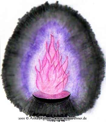 Colour pencil drawing of a fire burning over a bowl. The flames are pink