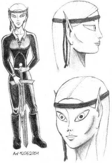 Pencil-drawn character sheet showing two portraits of an elf.