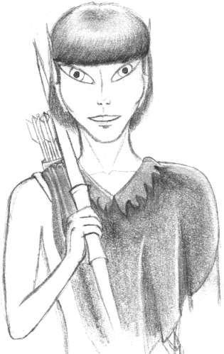 Pencil drawing of an elf with short, dark hair. He'd wearing a poncho and carrying a short bow.