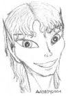 A pencil portrait of a grinning elf