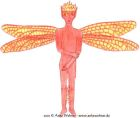 A coloured pencil image of an androgynous fairy with orange-red skin and fire instead of hair.