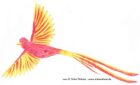 Colour pencil drawing of a yellow and orange bird in flight