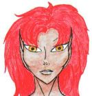 An elf with orange eyes and bright red, fluffy hair.