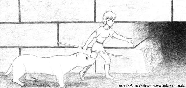 A small humanoid is on an urban hunt together with her pet weasel.
