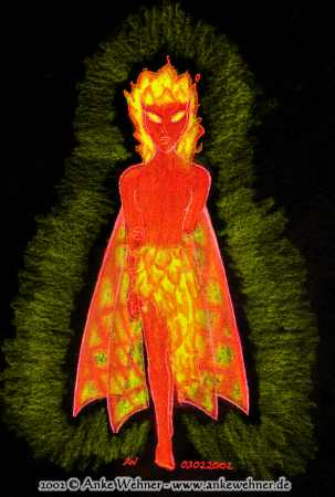 Full figure drawing of a fire fairy