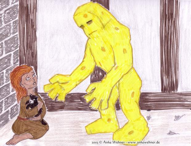 A girl holding a cat is covering from a golem. The golem is made of cheese and is being followed by mice.