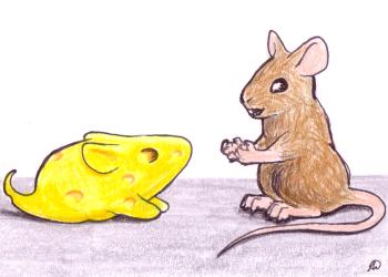 A mouse talks to a mouse made of cheese