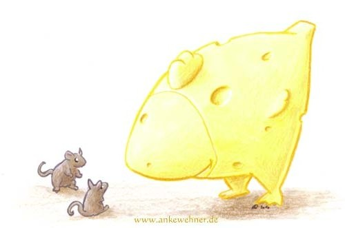 Drawing of a cartoony chicken made of cheese meeting two mice