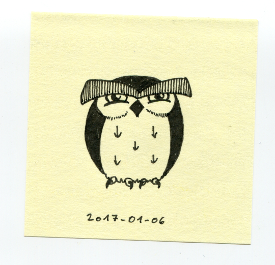 a cartoony, cranky-looking horned owl drawn on a post it note