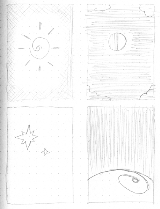 A set of very rough layout sketches for stylised cards showing the sun, the moon, stars, and Earth.