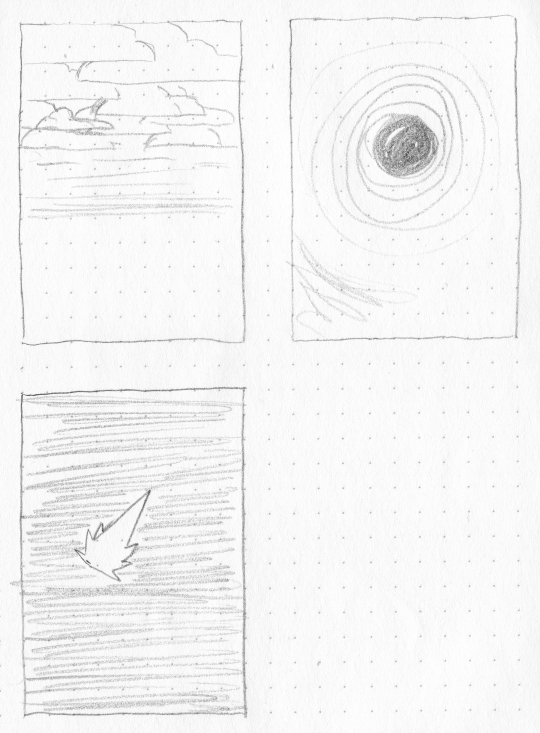 A set of very rough layout sketches for stylised cards showing a cloudy sky, a comet, and a black hole.