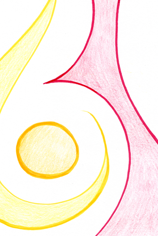 Yellow and red shapes with curved outlines on white background