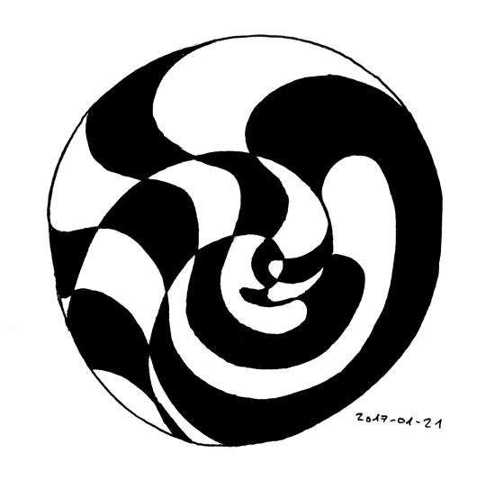 A pattern made up of black and white areas forming a spiral shape