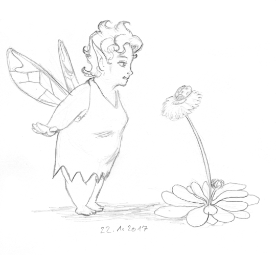 A cute, fat fairy with short hair looks at a daisy on which a ladybug is sitting.