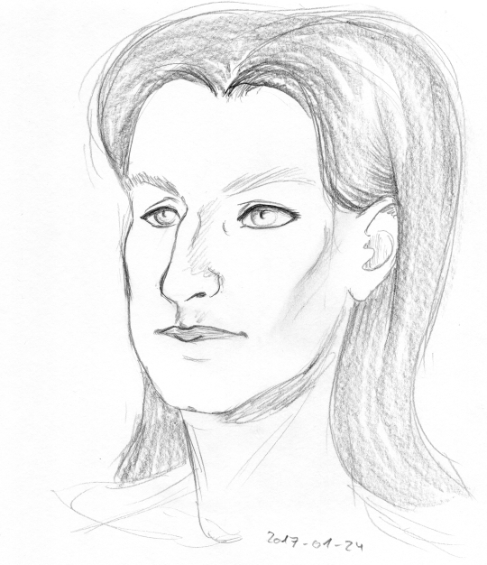 Pencil portrait of a white, square-faced woman with a slightly hooked nose and long, medium-to-dark hair