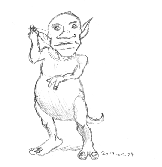 rough pencil sketch of a goblin with two-toed feet