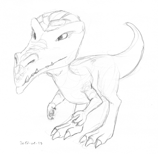 Adragon with two legs and two arms, but no wings, somewhat resembling a bald theropod, with an oversized, scaly head.