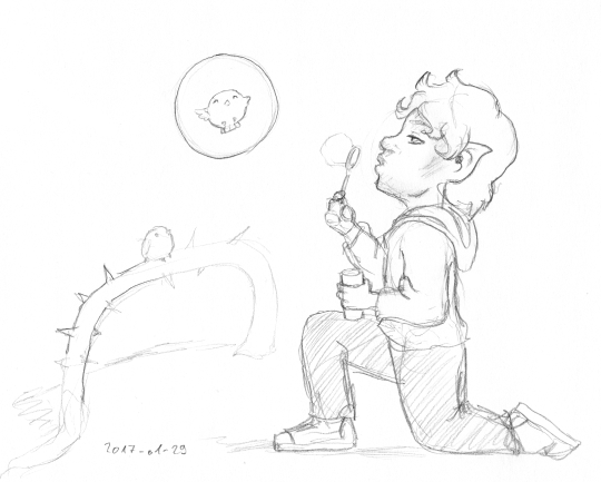 Pencil sketch showing an elf blowing soap bubbles for the entertainment of small birds