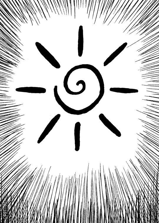The sun drawn as a spiral with rays projecting away from it