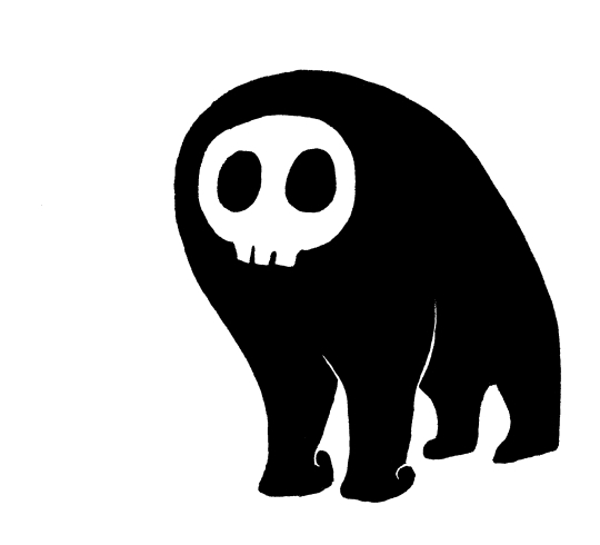A black shape that vaguely resembles a simian on all fours, with no discernible head, but a cartoony skull face