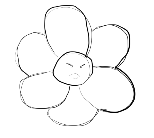 A very roughly drawn cartoon blossom with a face in the centre, sticking out its tongue with its eyes squinted shut.