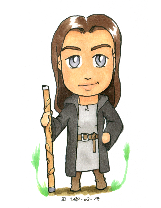 Chibified drawing of a woman in grey robes, carrying a staff.