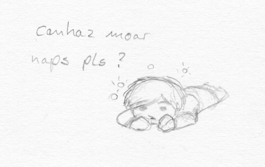 "A cartoony humanoid figure is lying prone on the floor. ""canhaz moar naps pls?"""
