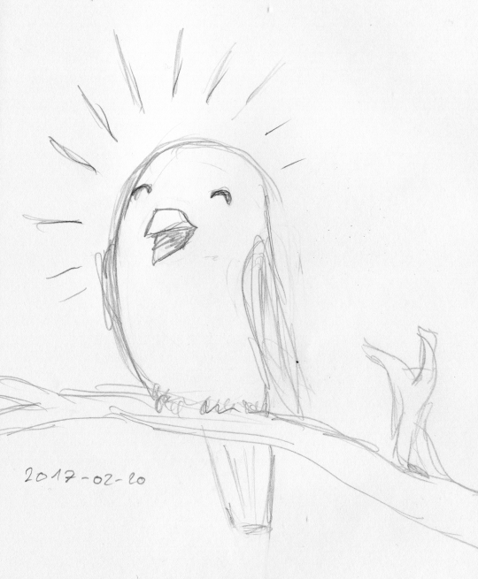 Rough pencil sketch of a cheeping bird sitting on a branch.