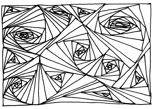 An abstract pattern drawn using only black ink lines, arranging differently sized, but mostly long and narrow triangles in swirl patterns.