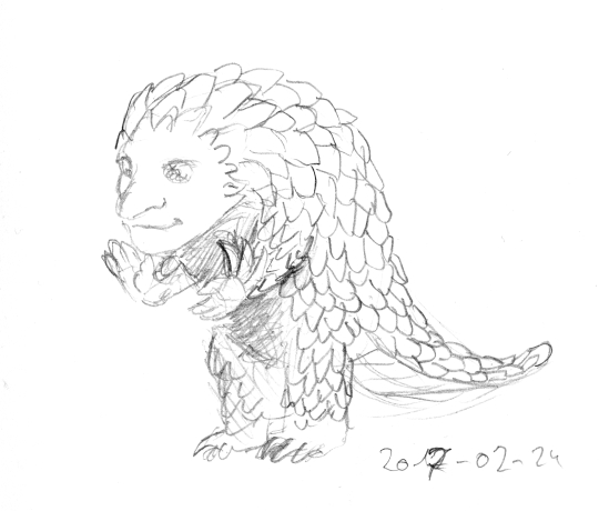 A rough sketch looking like a pangolin walking on its hind legs, showing a humanoid face and hands.