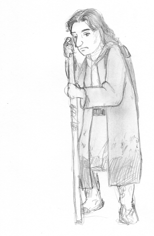 Pencil sketch of a woman leaning on a staff, her boots, robe and coat splattered with mud.