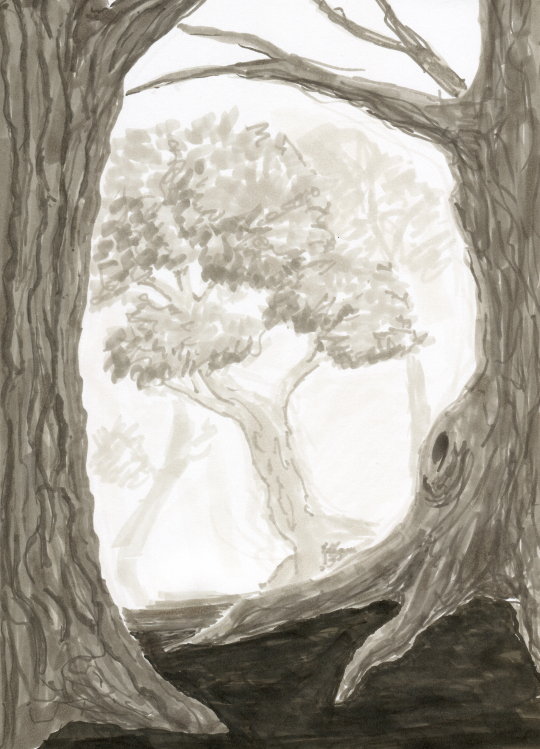 A scenery that might be part of a forest, drawn with warm grey markers.