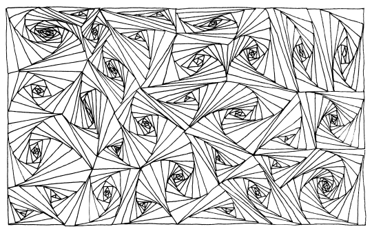 An abstract pattern drawn using only black ink lines, arranging differently sized, but mostly long and narrow triangles in elaborate swirl patterns.