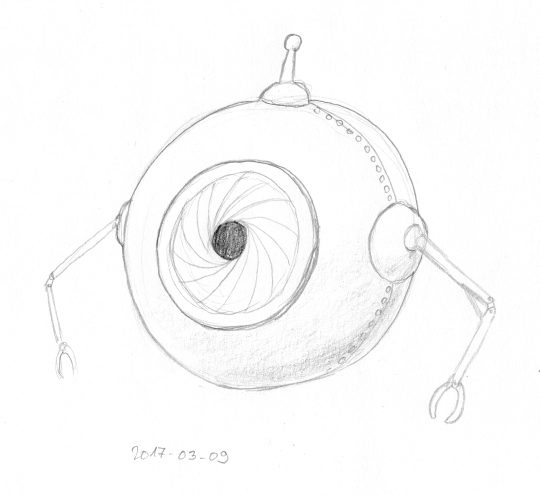 A spherical hovering robot with a single eye, two thin arms with pinchers, and a short antenna on top.