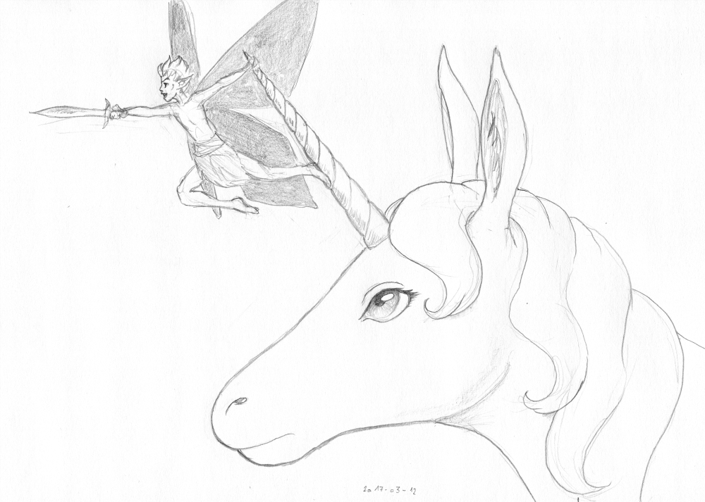A fairy with butterfly wings enthusiastically points a sword while holding on to the horn of a unicorn. The unicorn looks unimpressed.
