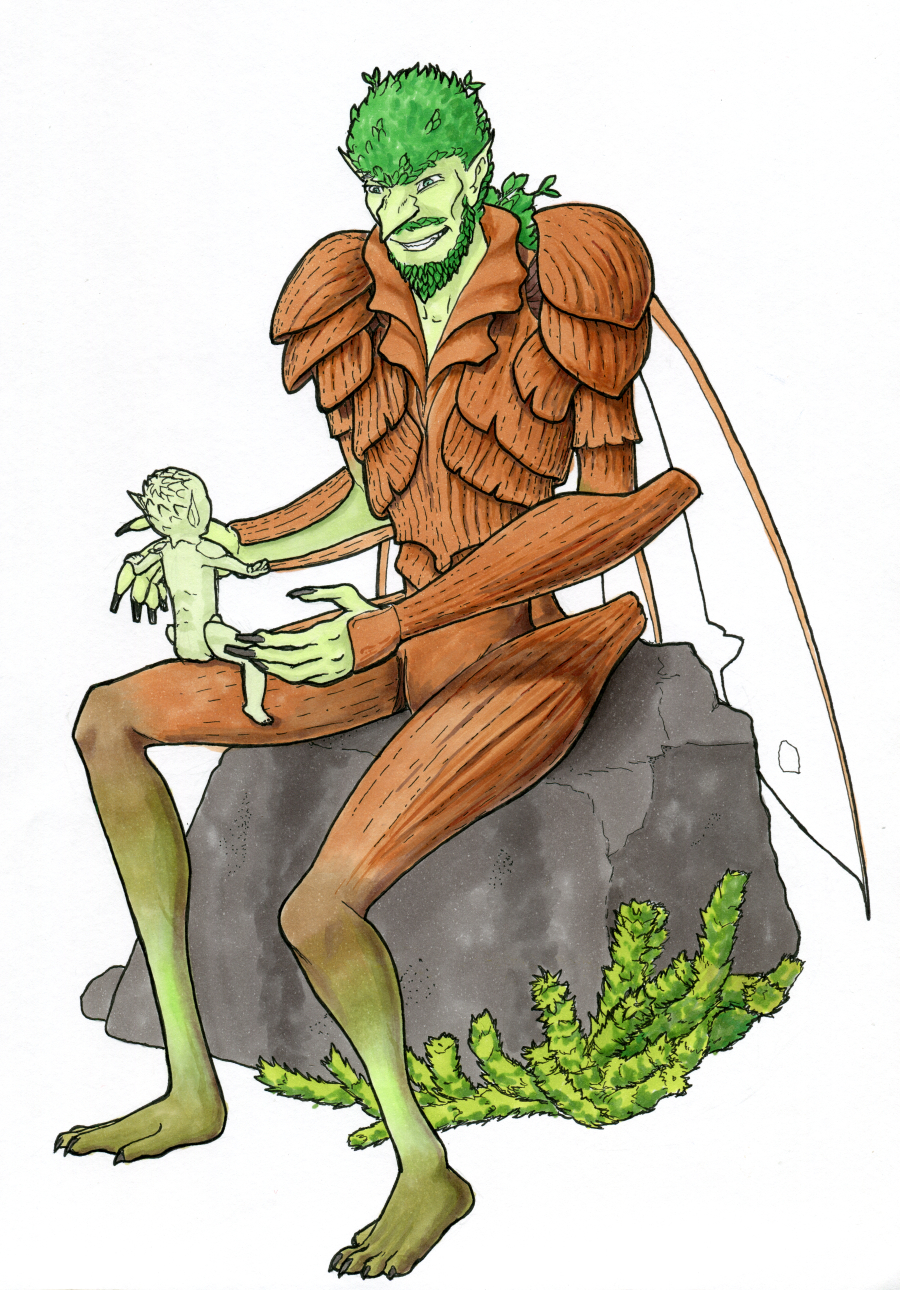 Ink outline showing an insectoid goblin sitting on a stone, with a tiny goblin baby on his knee
