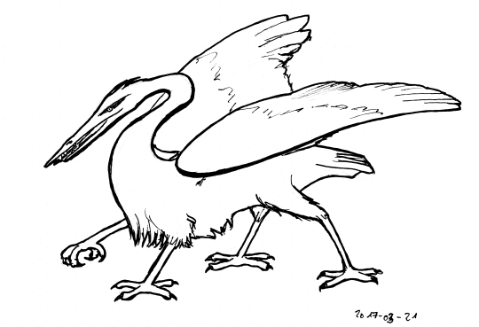 Ink line drawing of a creature with the head of a heron (but with teeth), four bird legs and a pair of wings