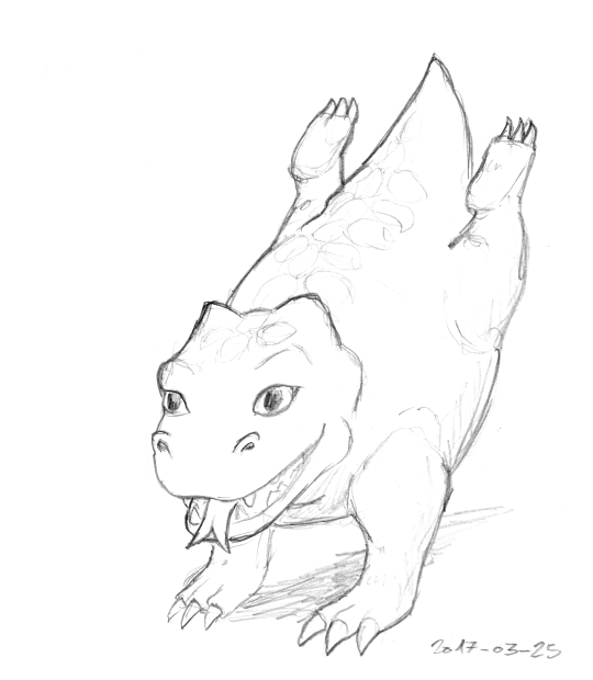 A sturdily built dragon runs at something close to the viewer excitedly. With its forked tongue out and big eyes, it looks a bit puppy-like.