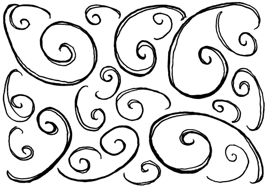 A pattern made up of loose, counterclockwise spirals in different sizes