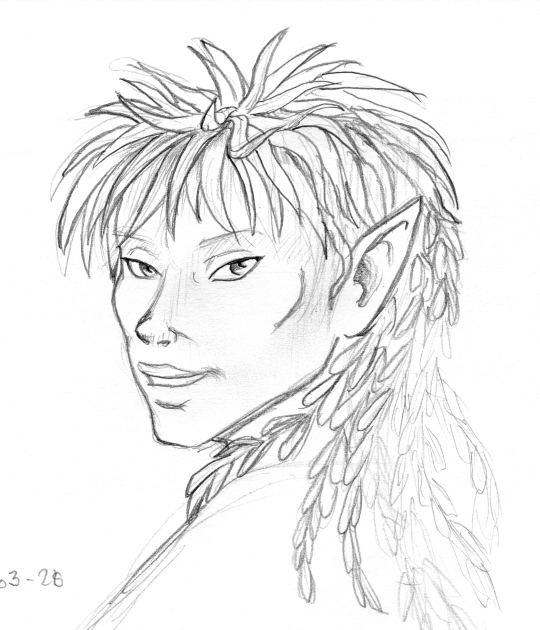 Pencil sketch portrait of a dryad. She has pointed ears and her hair resembles a mullet with grass on top of her head and willow foliage in the back.