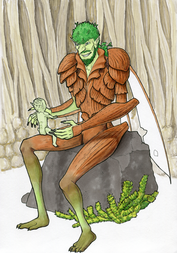 An insectoid goblin with bark-like carapace is sitting on a stone, a tiny goblin baby riding on his knee
