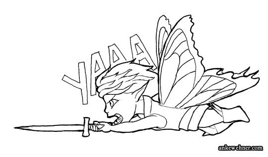 An ink line drawing of a cartoony/chibified fairy, flying straight to the left with a sword pointing that way, yelling.