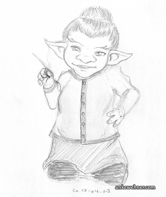 Pencil sketch of a female kobold, a small, stocky person with wide, pointed ears. Her hair is up in a bun and she is gesturing with a tobacco pipe.