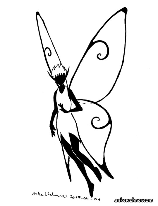 Ink drawing of a fairy with simple spiral designs on her wings.