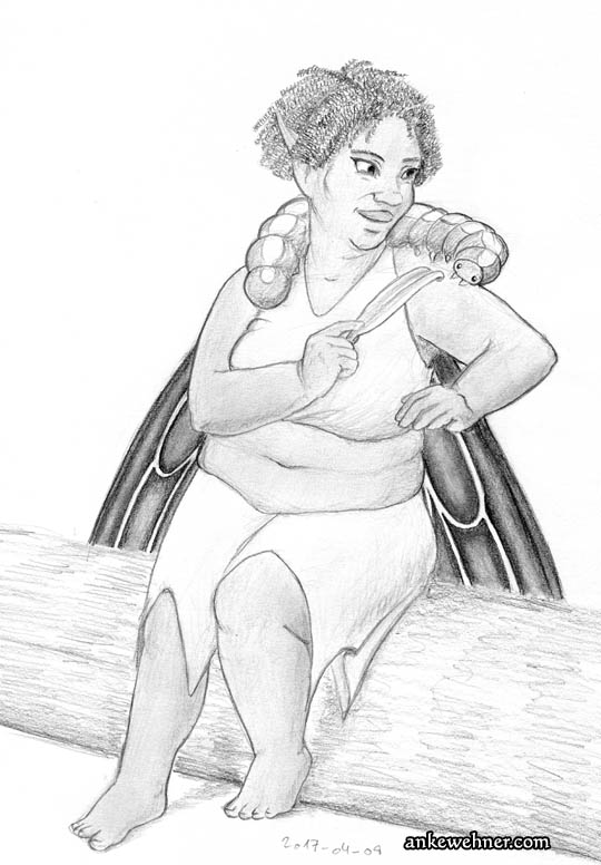 Pencil sketch of a cute, fat fairy feeding a petal to a caterpillar that is sitting on her shoulders.