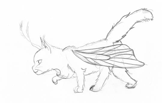 A fluffy cat with transparent butterfly wings and feathered feelers is stalking something.